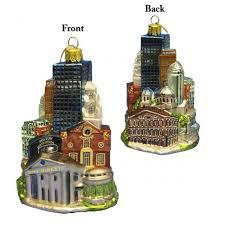 boston cityscape glass ornament and city