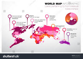 Marriage Equality Map World by World Map Laws Pertaining Relationships Stock Vector