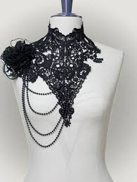 lace collar necklace images Lace collar quot tacita quot made of black embroidered laces decorated jpg