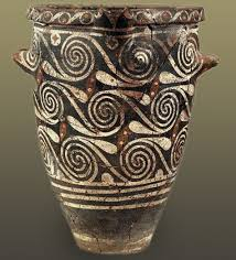 Minoan Octopus Vase Small Kamares Ware Jar With Bands And Interconnected Spirals