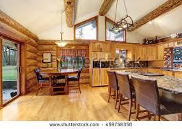 Bright Living Room Interior American Log Stock Photo 459758236 Usa House Interior Design