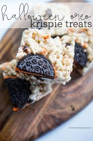 halloween oreo rice krispie treats fall dessert for kids