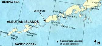 map of aleutian islands 1946 aleutian tsunami