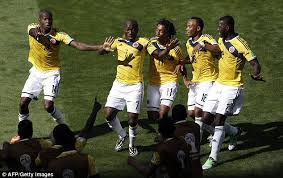 pablo armero leads colombia in celebration after goal vs