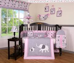 Gray And Pink Crib Bedding Boutique Baby Pink Gray Elephant 14 Pieces Nursery