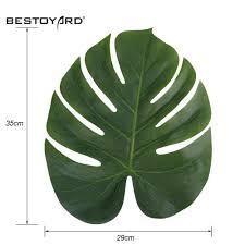 aliexpress com buy 12pcs artificial leaf 35x29cm tropical palm
