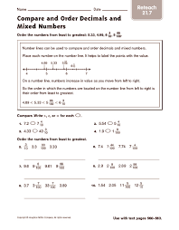 compare and order decimals and mixed numbers reteach 4th 5th