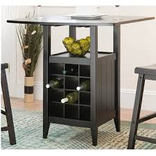 dining table with wine storage soren drop leaf pub table with wine storage and two stools home