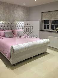Velvet Sleigh Bed Crushed Velvet Bedframe Cheap Superkingsize Kingsize Single