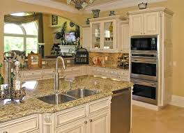 Long Cream Kitchen Cabinets And Classic White Island In Spacious - Long kitchen cabinets