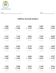 adding decimal numbers worksheet decimal worksheets fifth grade activities