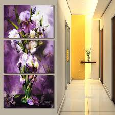 3 pieces set modern wall art beautiful purple flowers picture home