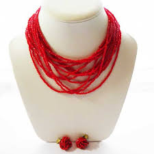 red necklace jewelry images Fifties red beaded vintage jewellery set of necklace and clip jpg