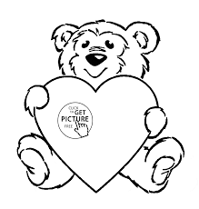 cute teddy with heart coloring page for kids for girls coloring