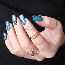 blue vertical gradient nail art u0026 pueen lace blossom plate review