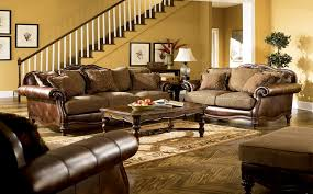 Ashley Leather Living Room Furniture Ashley Fresco Antique Sofa And Loveseat Set At Claremore Antique
