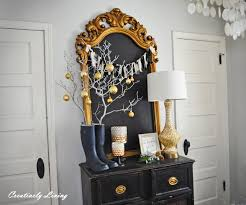 entryway and dining room at christmas by creatively living blog