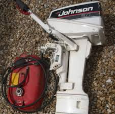 johnson 5 hp 2 stroke outboard engine motor plus fuel tank in