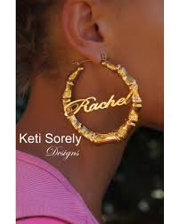 name plated earrings get the deal style large bamboo name earrings door
