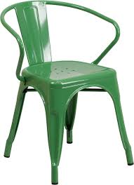Galvanized Bistro Chair Fern Green Galvanized Tolix Arm Chair In Outdoor Tablebasedepot