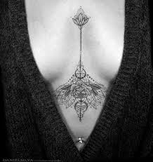 Tattoos In Between The Breast Sternum Ideas Tatting And