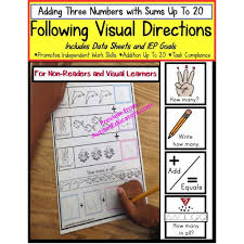 following visual directions addition worksheets for non readers u0026 data