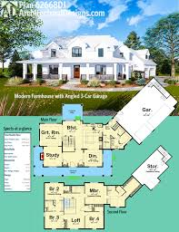 Design Plan Plan 62668dj Modern Farmhouse With Angled 3 Car Garage