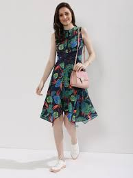 midi dress buy koovs lace insert handkerchief hem midi dress for women