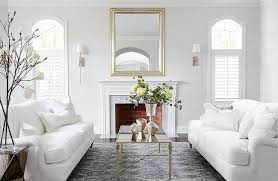 Benjamin Sofa White Sofas With An Antiqued Mirrored Coffee Table Transitional