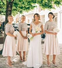 blush bridesmaid dress 2017 new blush bridesmaid dresses half sleeves sequins of