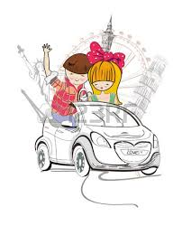 sketch of romantic couple cartoon boy and traveling in
