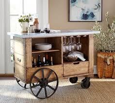 Zinc Top Bar Table Harris Zinc Top Bar Cart Pottery Barn