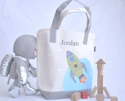 rocket tote bag personalized tote bag rocket ship kids space