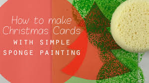 making christmas cards simple sponge painting craft idea for