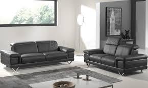 ensemble de canapé ensemble canapé cuir design 3 2 places coloris noir luciana