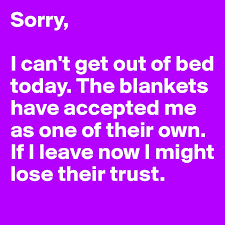 Cant Get Out Of Bed Sorry I Can U0027t Get Out Of Bed Today The Blankets Have Accepted Me