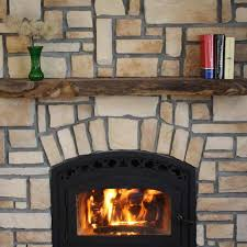 with stacked stone painted wood and knotty pine hearth ideas house