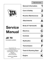 jcb jz70 tracked excavator service repair manual sn 834001 onwards