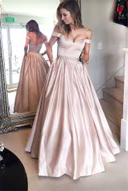 Dusty Rose Wedding Dress Beautiful A Line Off The Shoulder Prom Dress Dusty Rose Satin