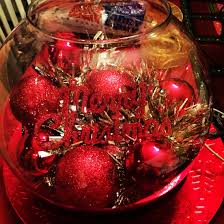 christmas centerpiece fish bowl tinsel garland and ornaments