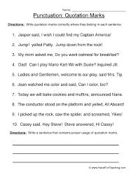 quotation marks punctuation worksheet 3