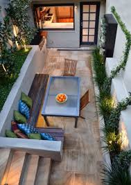 gorgeous long narrow indoor courtyard patio seating area with