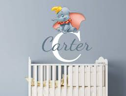 nursery wall stickers with custom names by eydecals personalised dumbo name wall decal