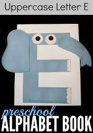 preschool alphabet book uppercase letter e elephant crafts