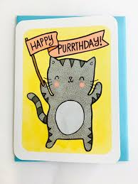 Cat Birthday Cards Happy Purrthday Kitty Cat Birthday Card Miette