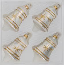 4 pcs glass bells set in white gold comet navidacio