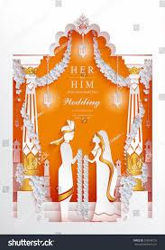 Indian Wedding Invitation Card Sample Indian Wedding Invitation Card Templates Paper Stock Vector