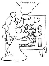 simpson coloring pages maggie and the tv coloring pages hellokids com
