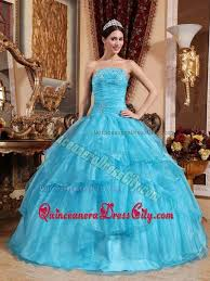 dresses for sweet 15 aqua blue strapless beaded ruches layered organza sweet 15 dresses