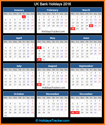 uk bank holidays 2016 holidays tracker